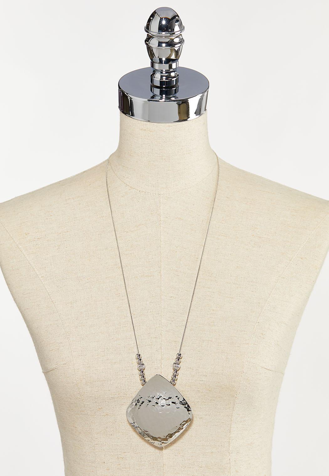 Hammered Metal Pendant Necklace (Item #44274578)