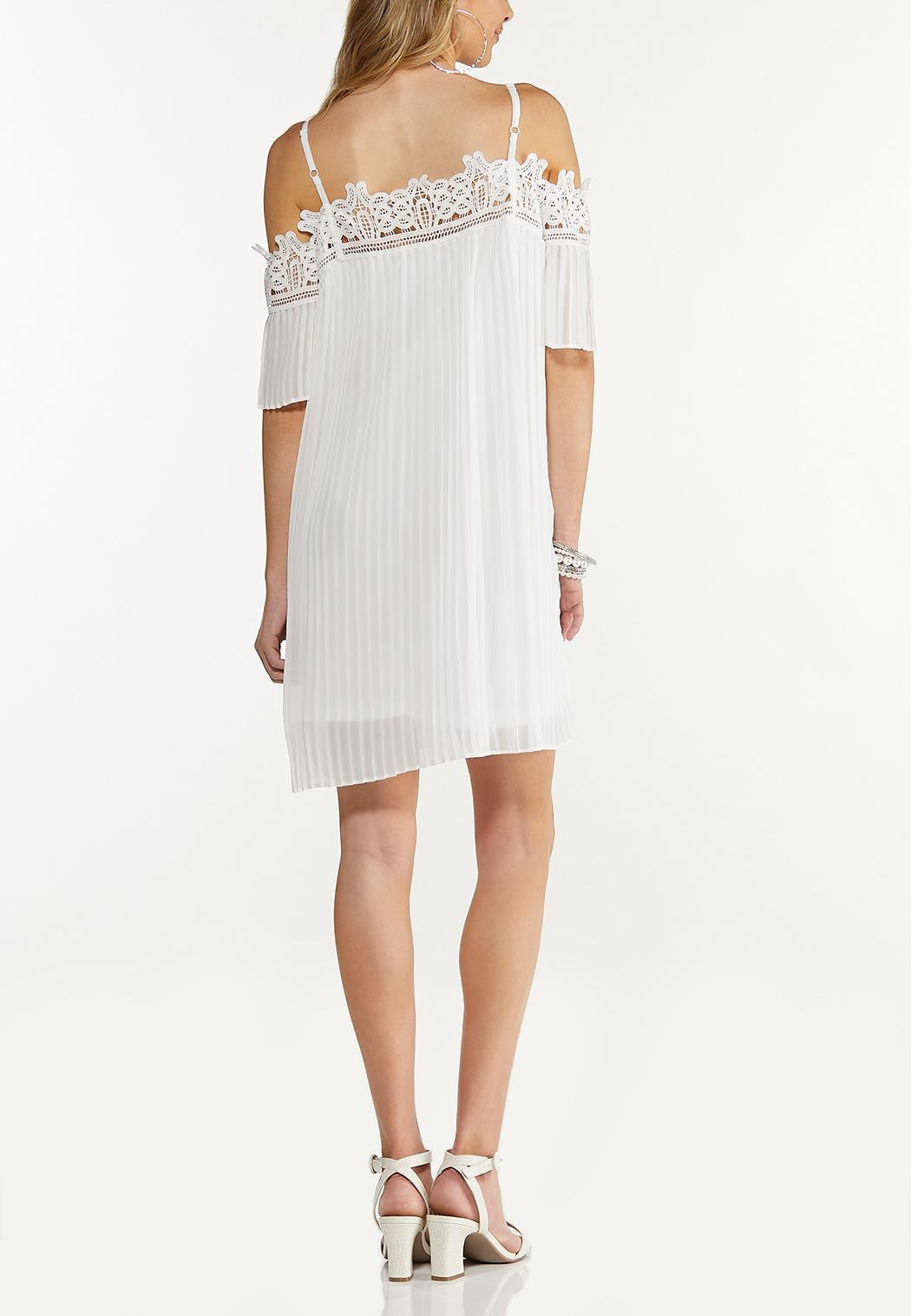 Cold Shoulder Pleated White Dress (Item #44274673)