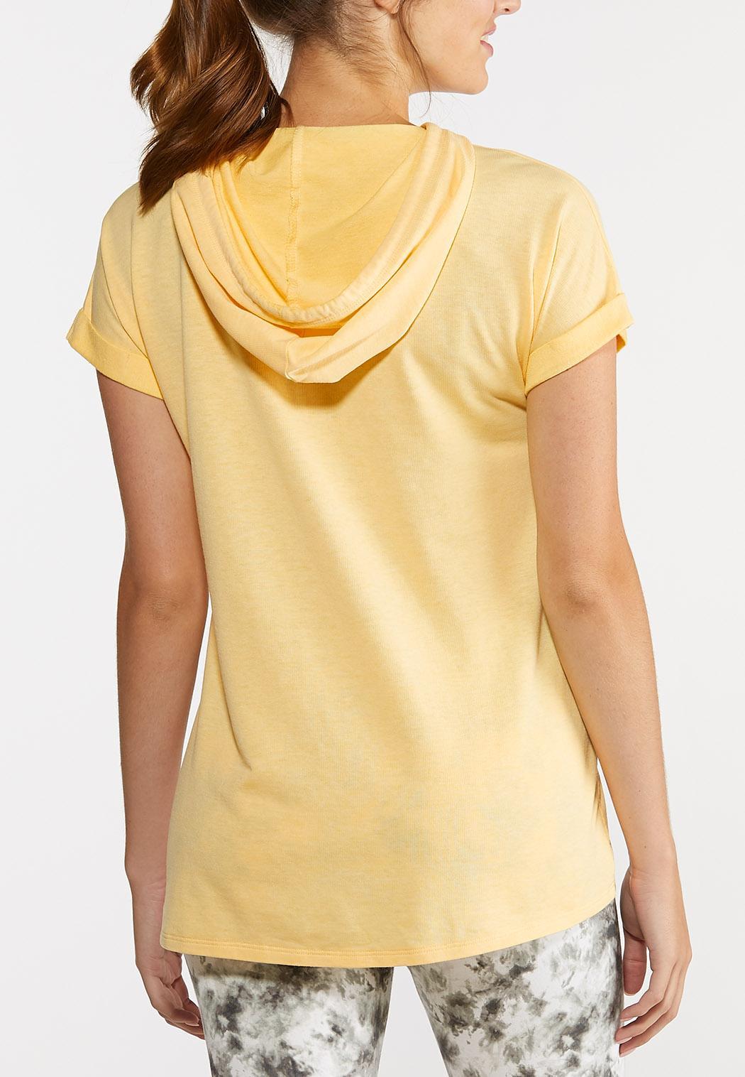 Plus Size Hooded Tie Waist Top (Item #44274746)