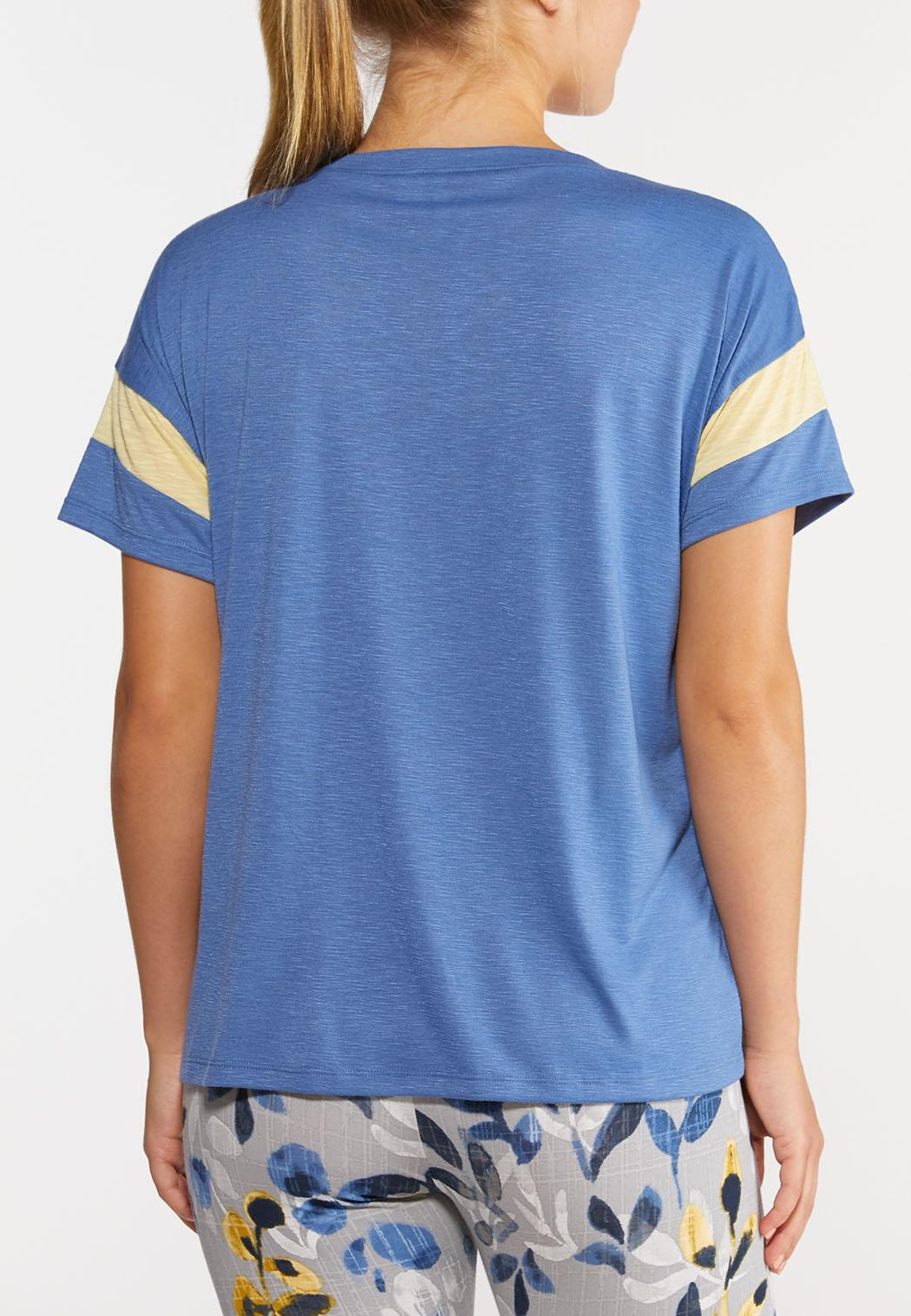 Plus Size Sporty Striped Sleeve Tee (Item #44274782)