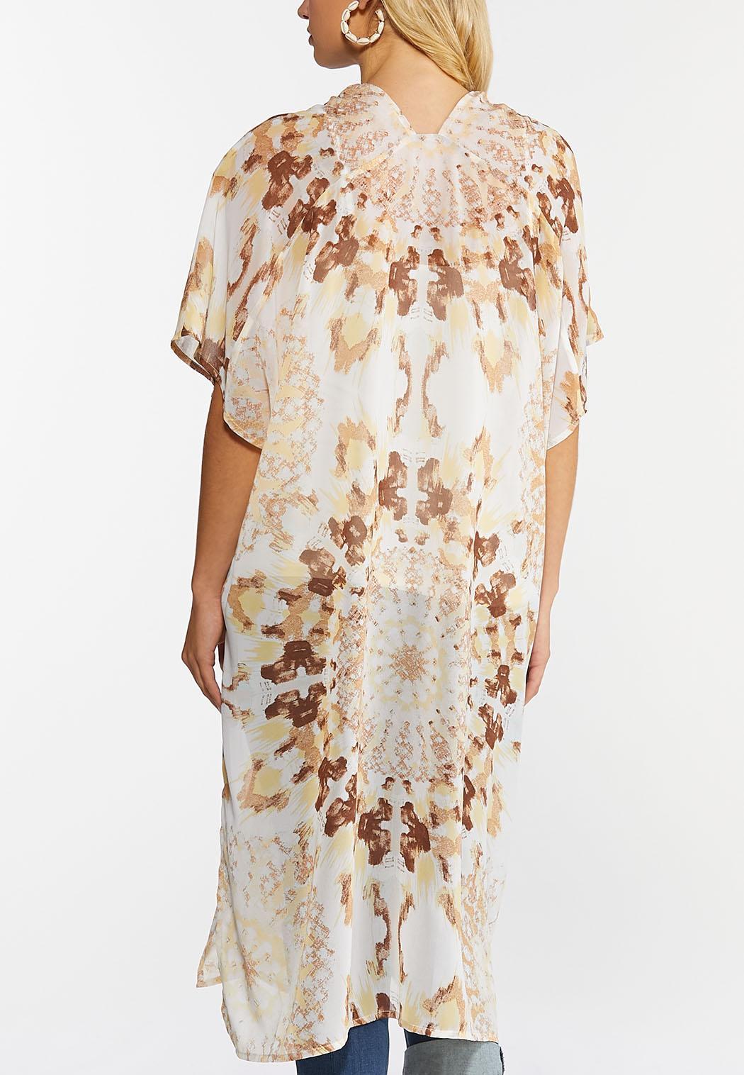 Plus Size Neutral Tie Dye Kimono (Item #44275039)