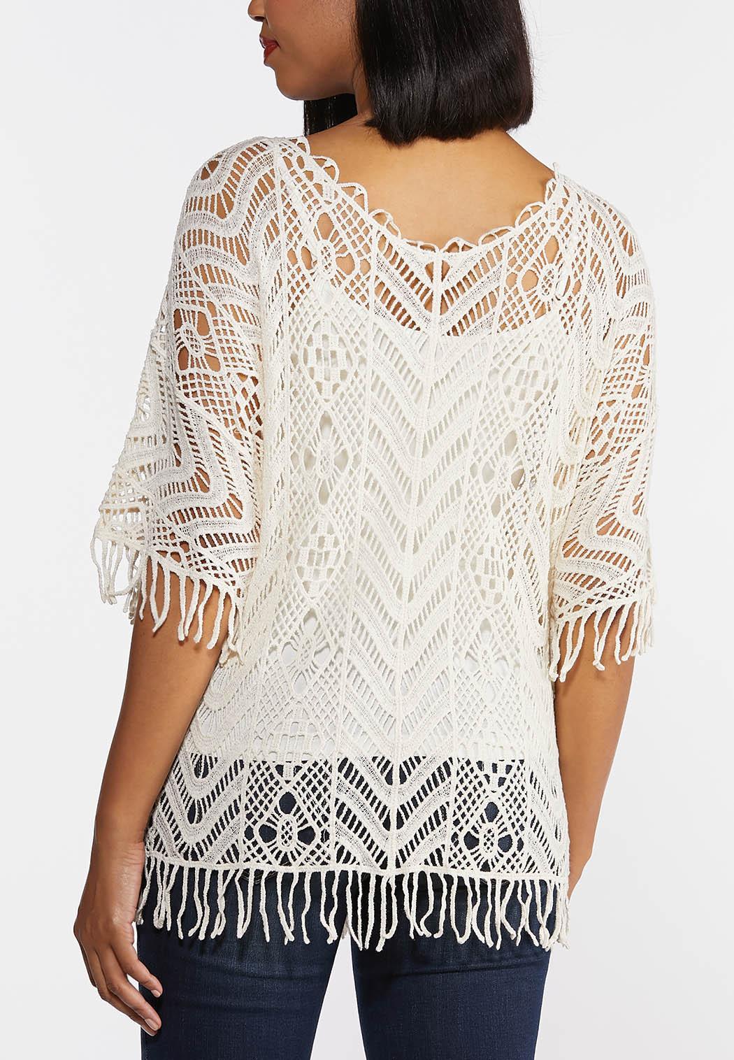 Plus Size Fringe Crochet Top (Item #44275120)