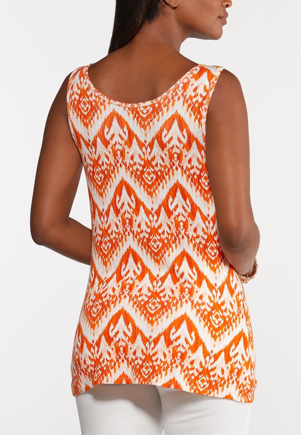 Plus Size Orange Ikat Tank (Item #44276027)