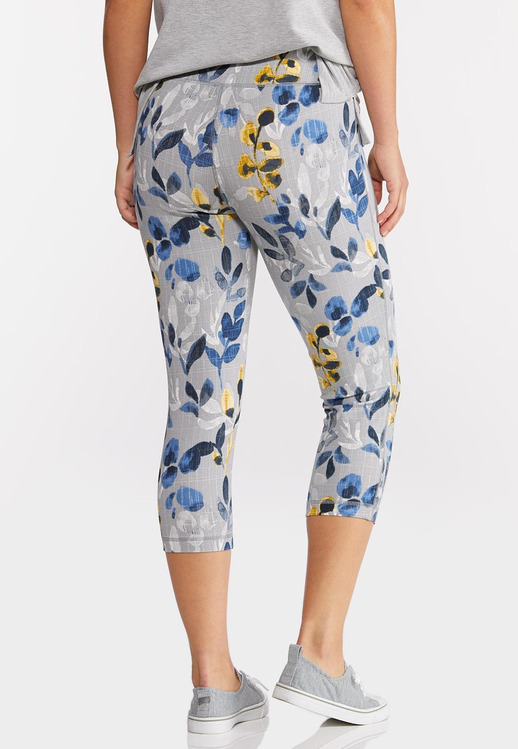 Cropped Blue Floral Leggings (Item #44276109)
