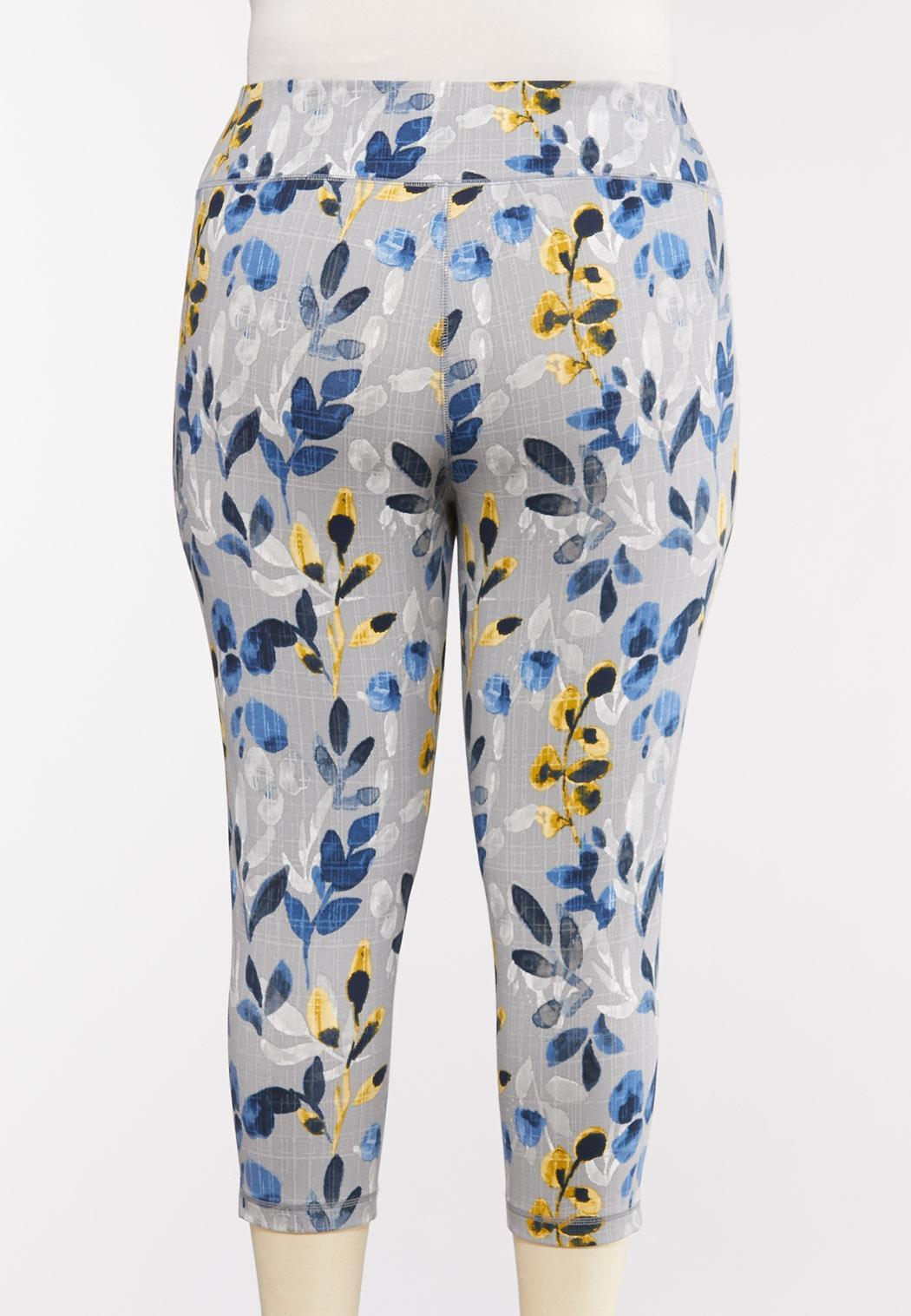 Plus Size Cropped Blue Floral Leggings (Item #44276131)