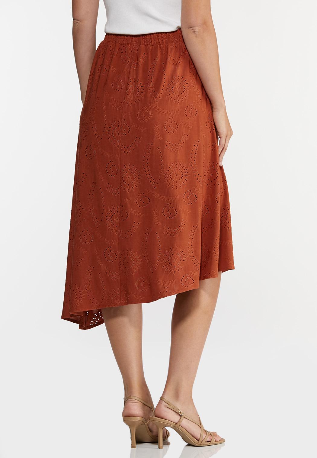 Plus Size Rust Eyelet Midi Skirt (Item #44276841)