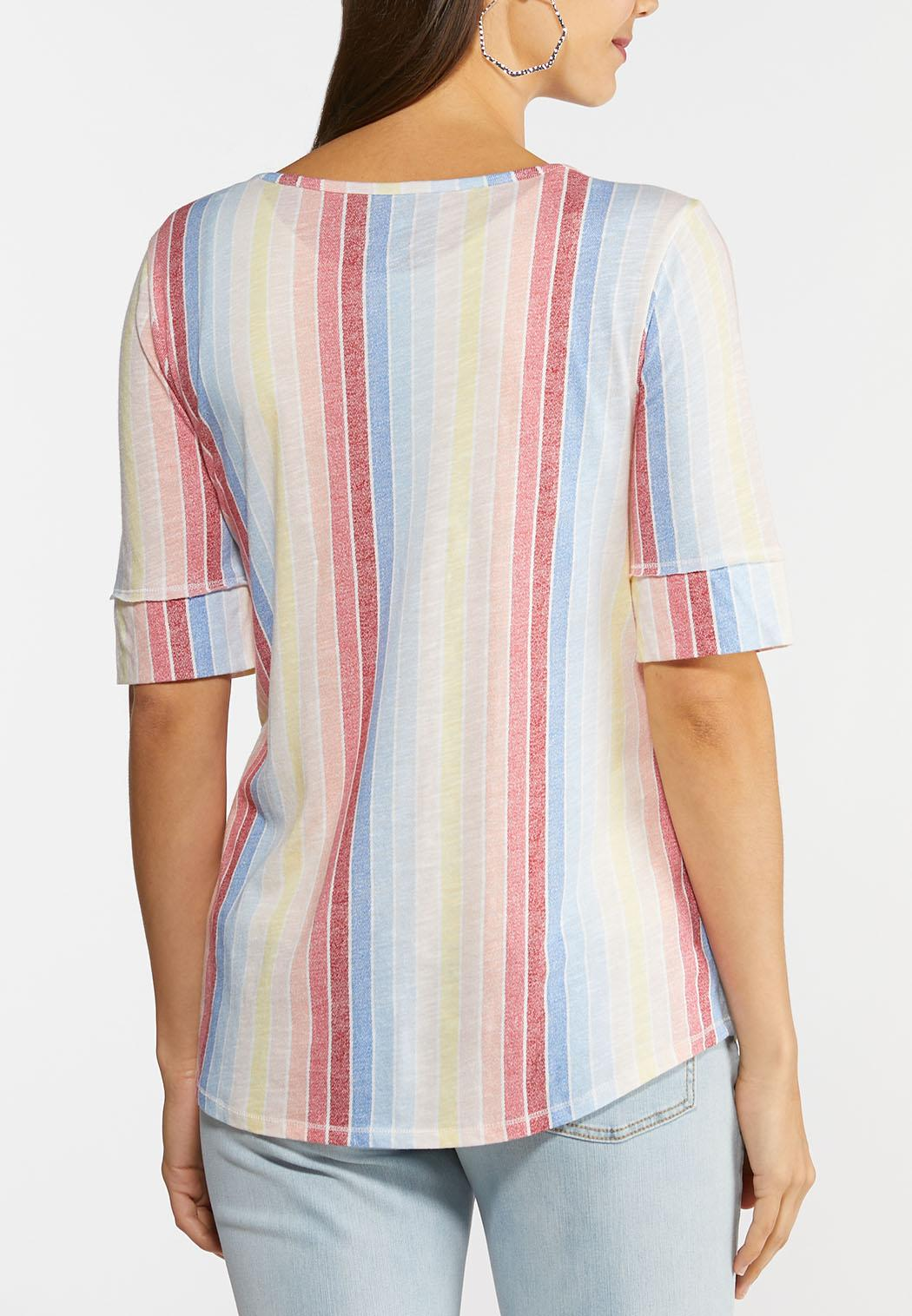 Plus Size Muted Rainbow Stripe Top (Item #44277996)