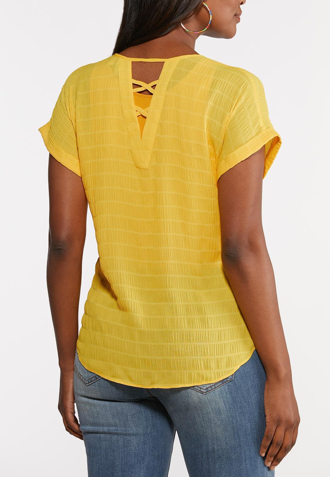 Plus Size Textured V-Neck Top (Item #44279279)