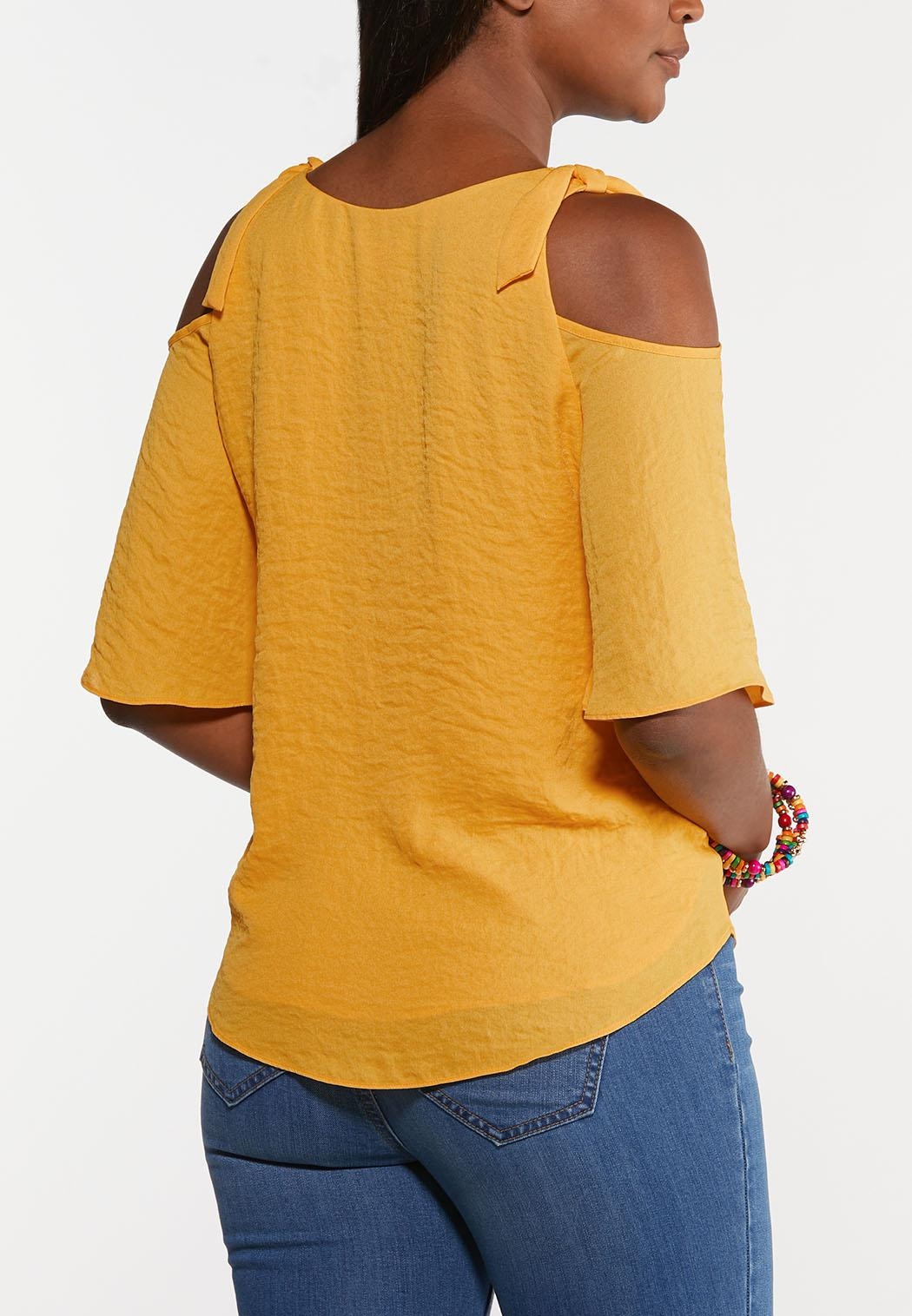 Plus Size Knotted Cold Shoulder Top (Item #44279343)