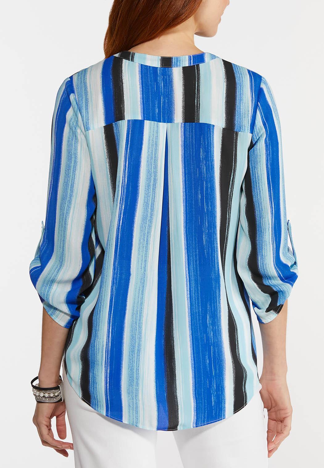 Plus Size Brilliant Blue Striped Top (Item #44279413)