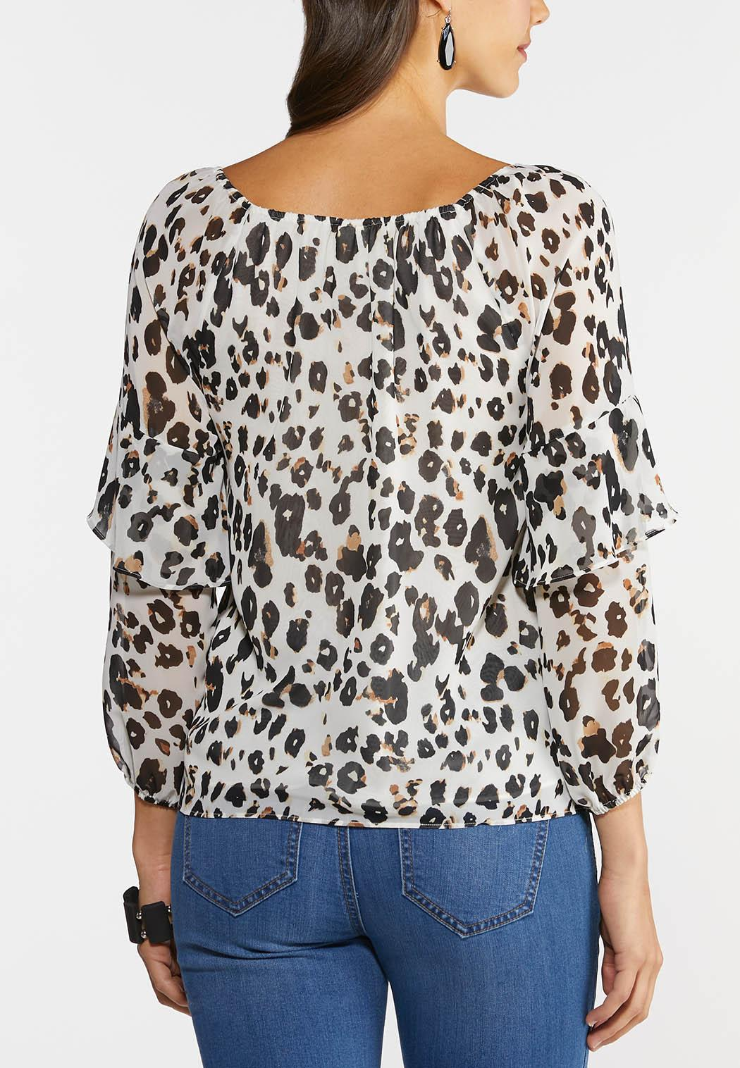 Plus Size Ruffled Leopard Top (Item #44279434)