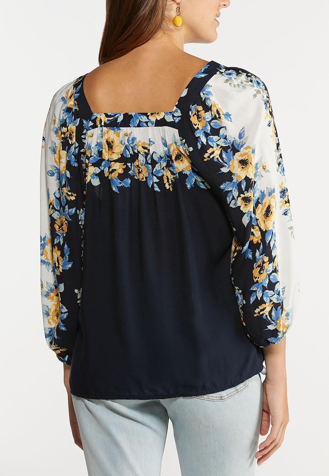 Blue Floral Poet Top (Item #44279477)