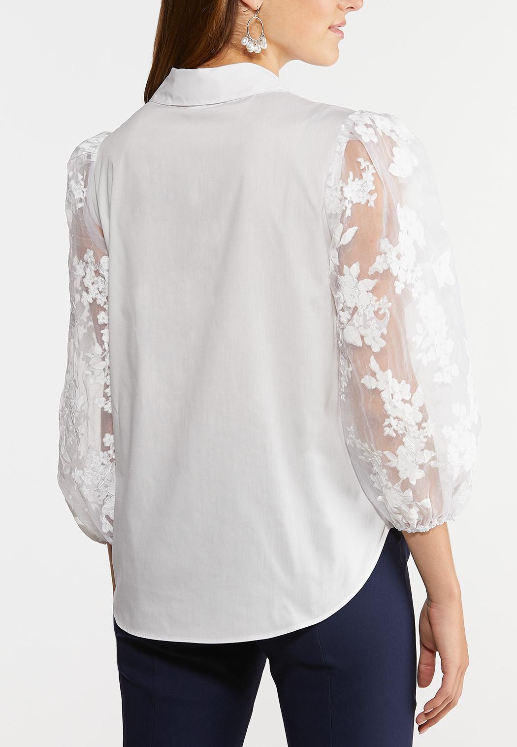 Sheer Floral Sleeve Top (Item #44279552)