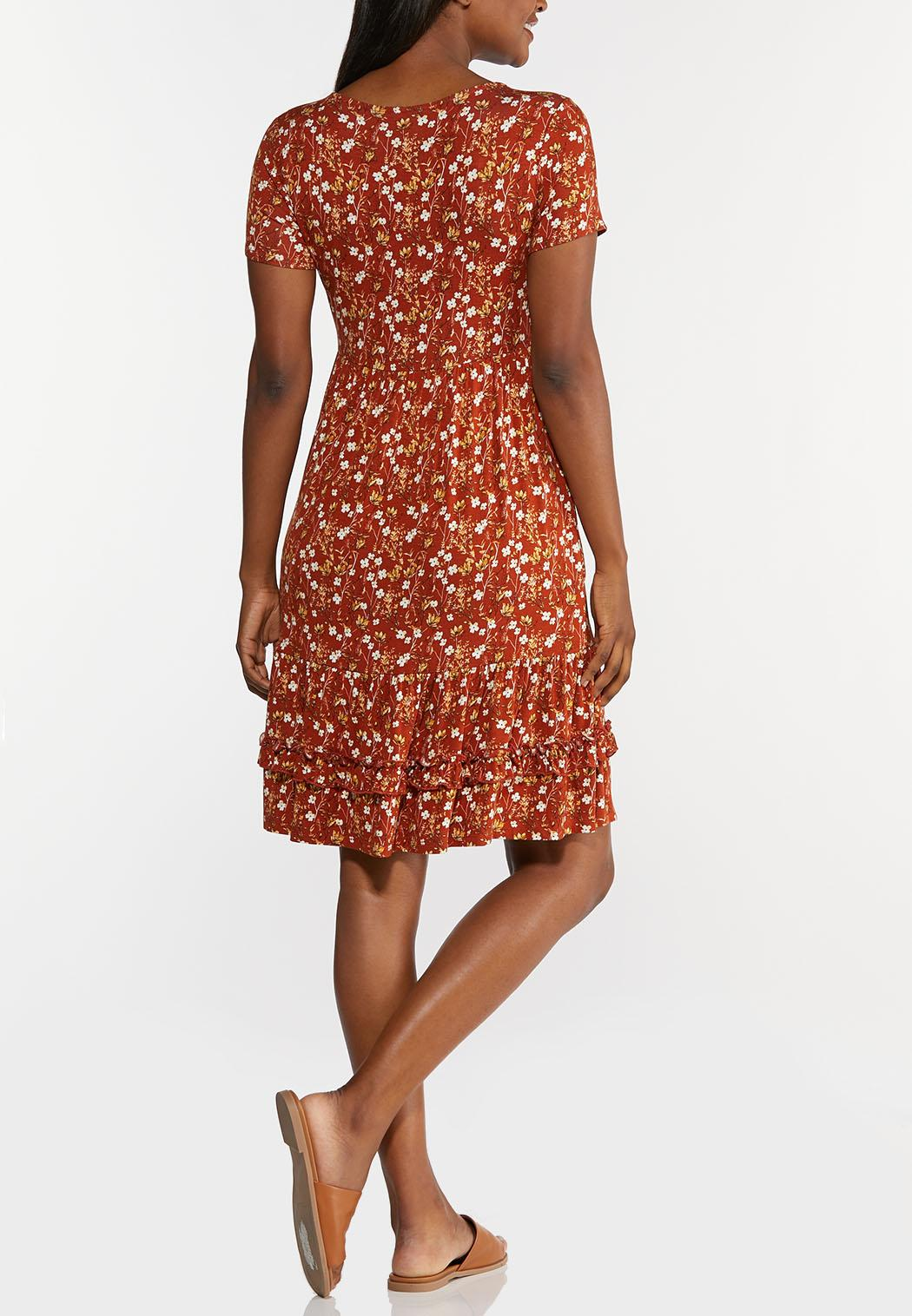 Plus Size Rust Floral Babydoll Dress (Item #44279689)