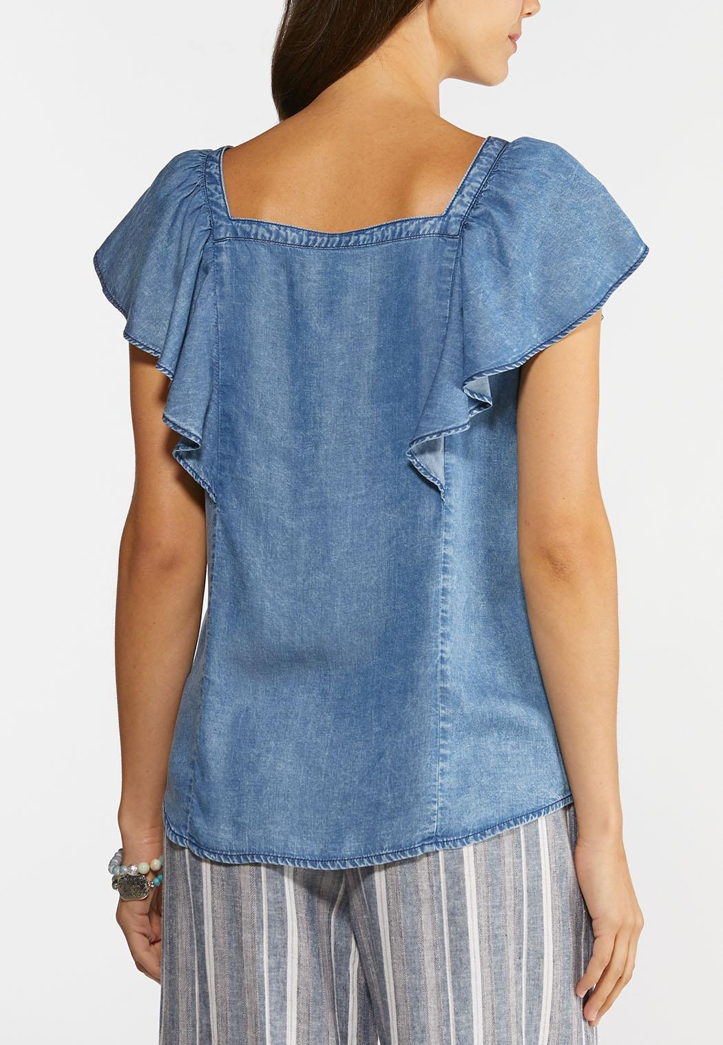Plus Size Denim Ruffled Neck Top (Item #44279721)