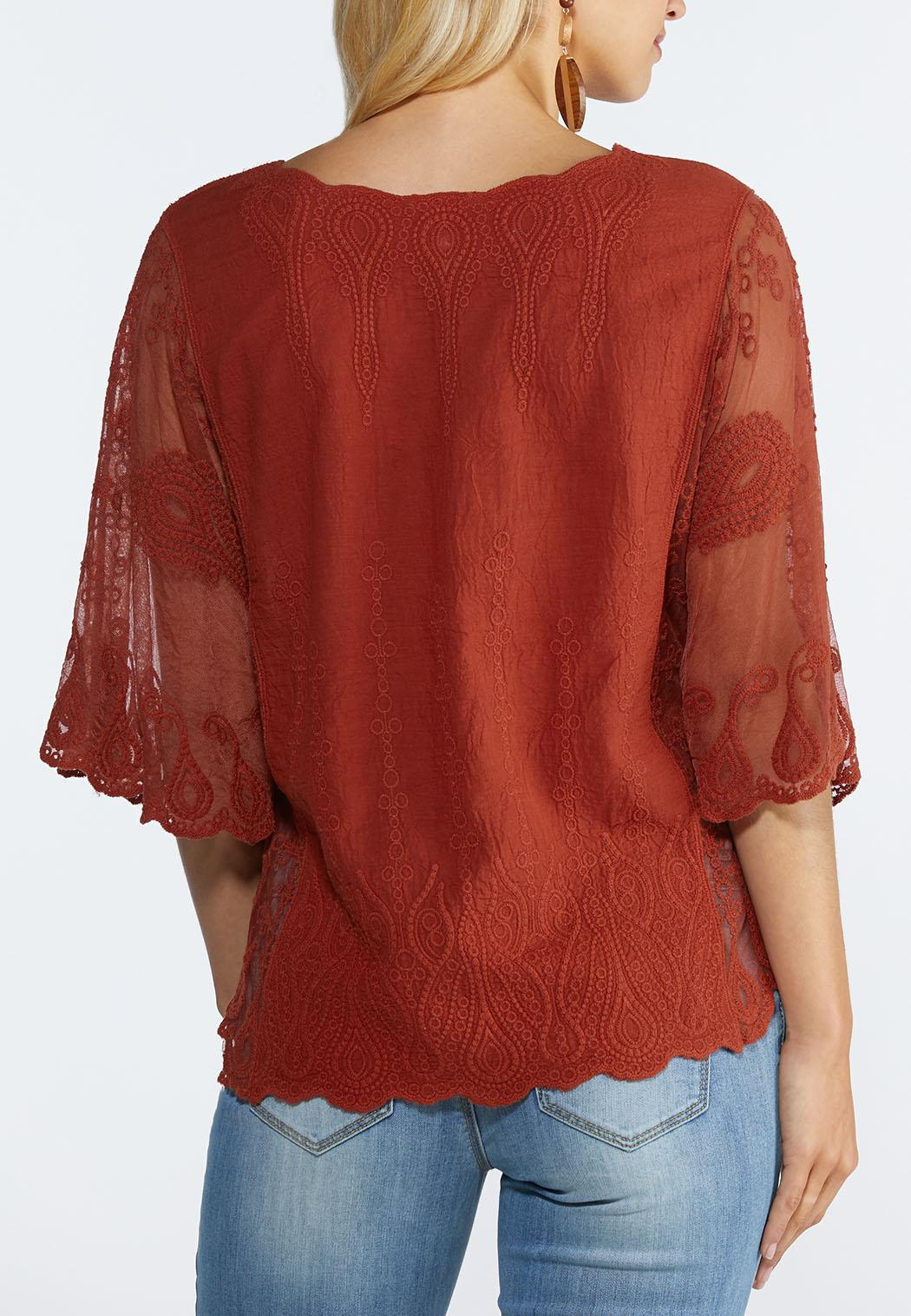 Plus Size Embroidered Mesh Sleeve Top (Item #44279766)