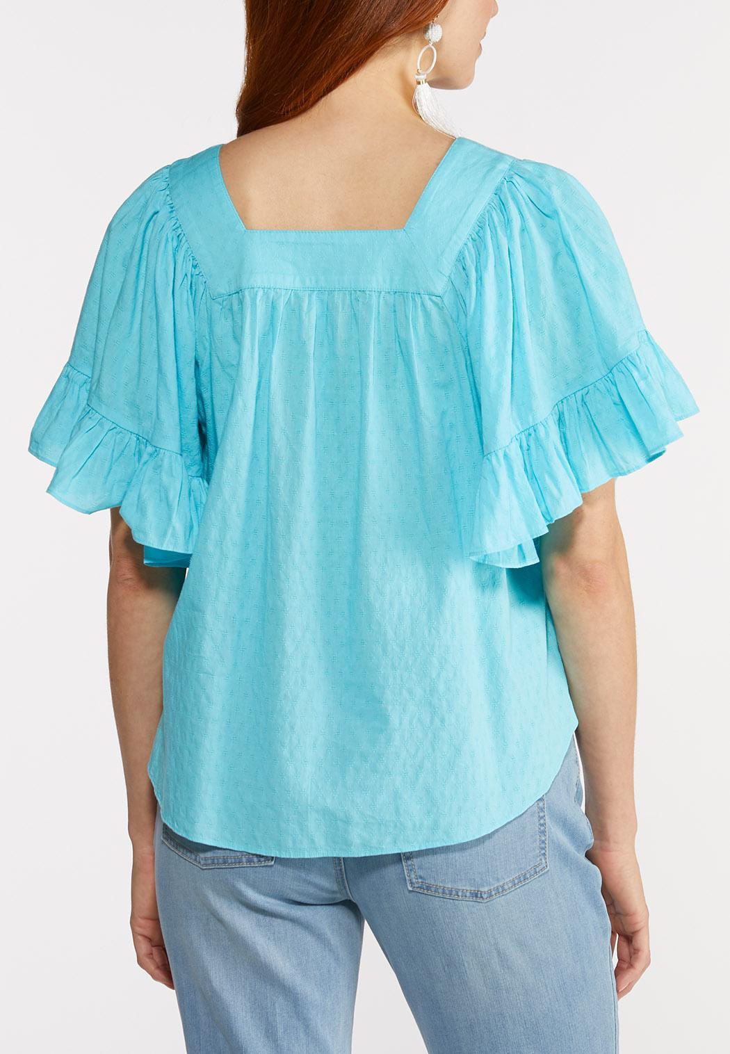 Plus Size Flutter Sleeve Poet Top (Item #44279838)