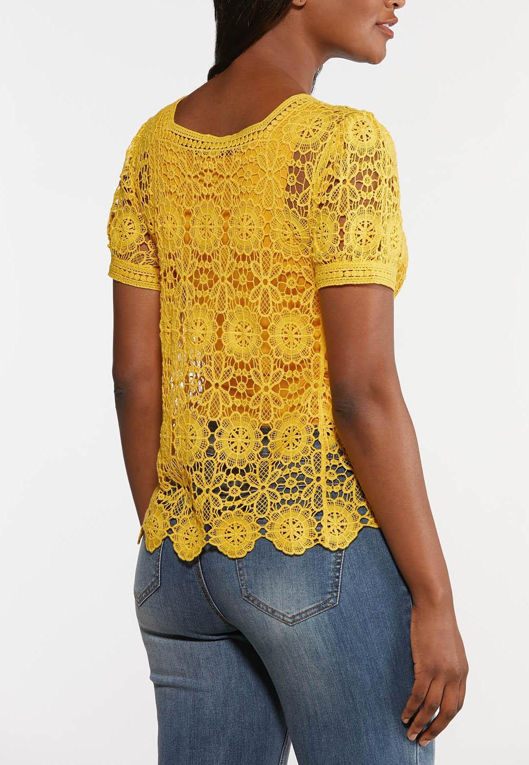 Plus Size Golden Floral Crochet Top (Item #44279892)