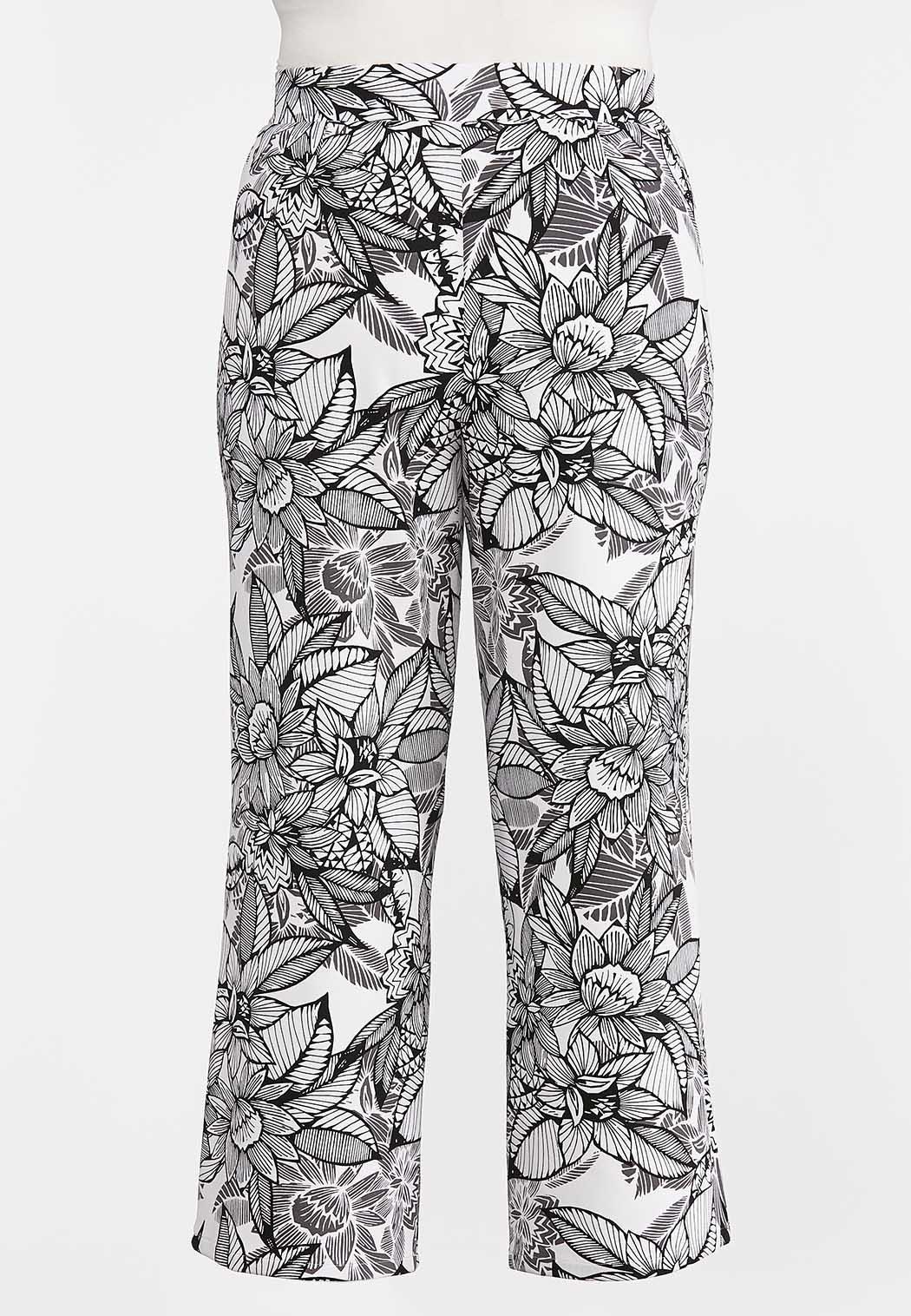 Plus Size Sketch Floral Palazzo Pants (Item #44280405)