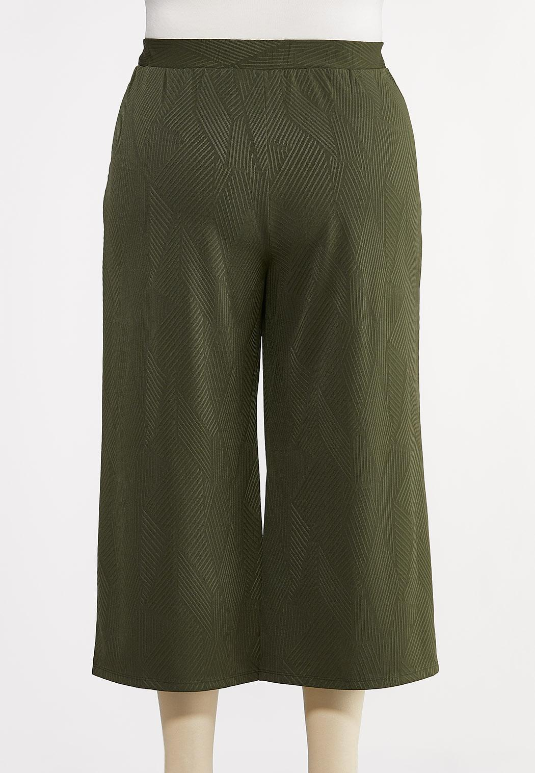 Plus Size Ribbed Cropped Pants (Item #44280841)