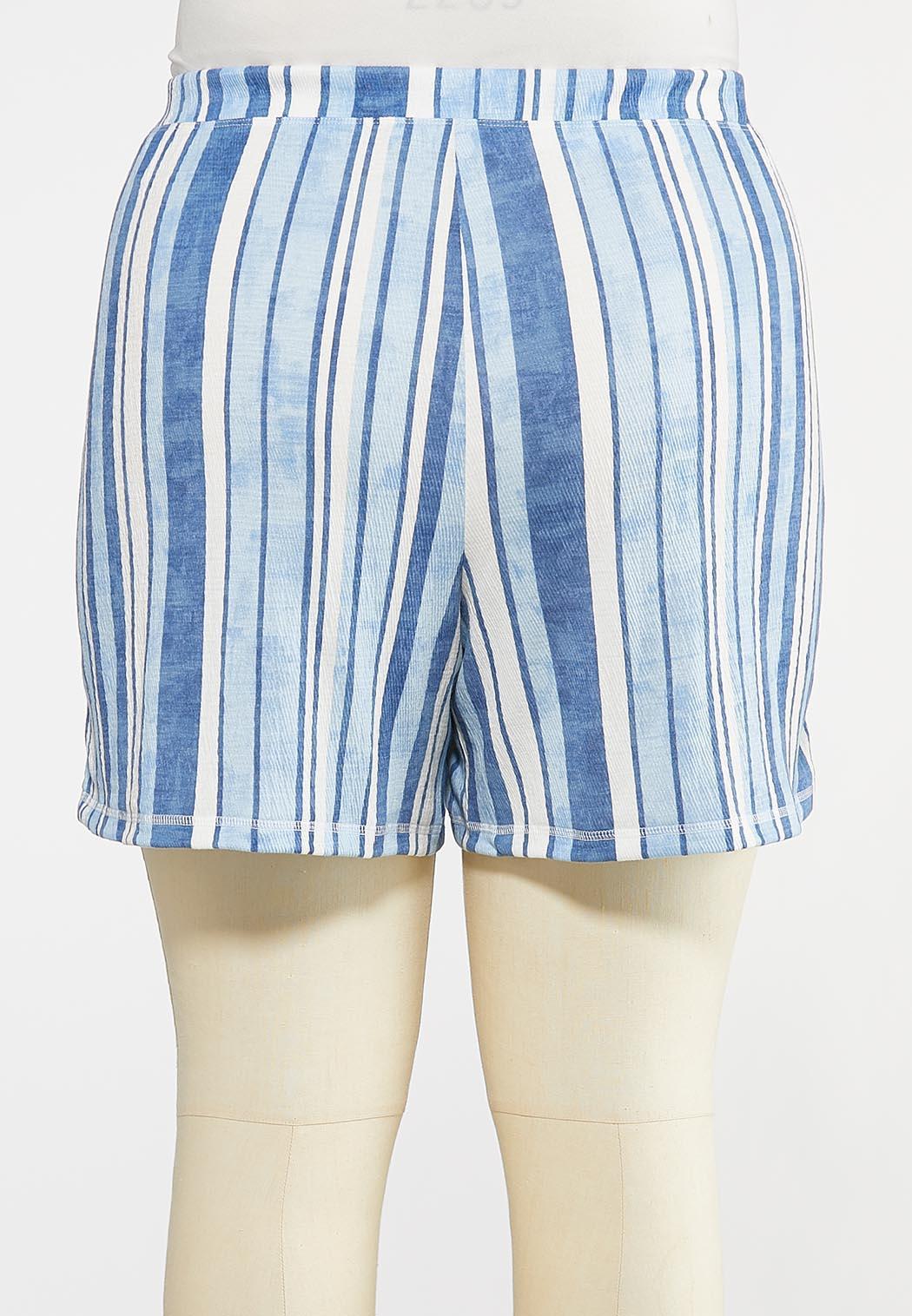 Plus Size Striped Ocean Blue Shorts (Item #44280934)
