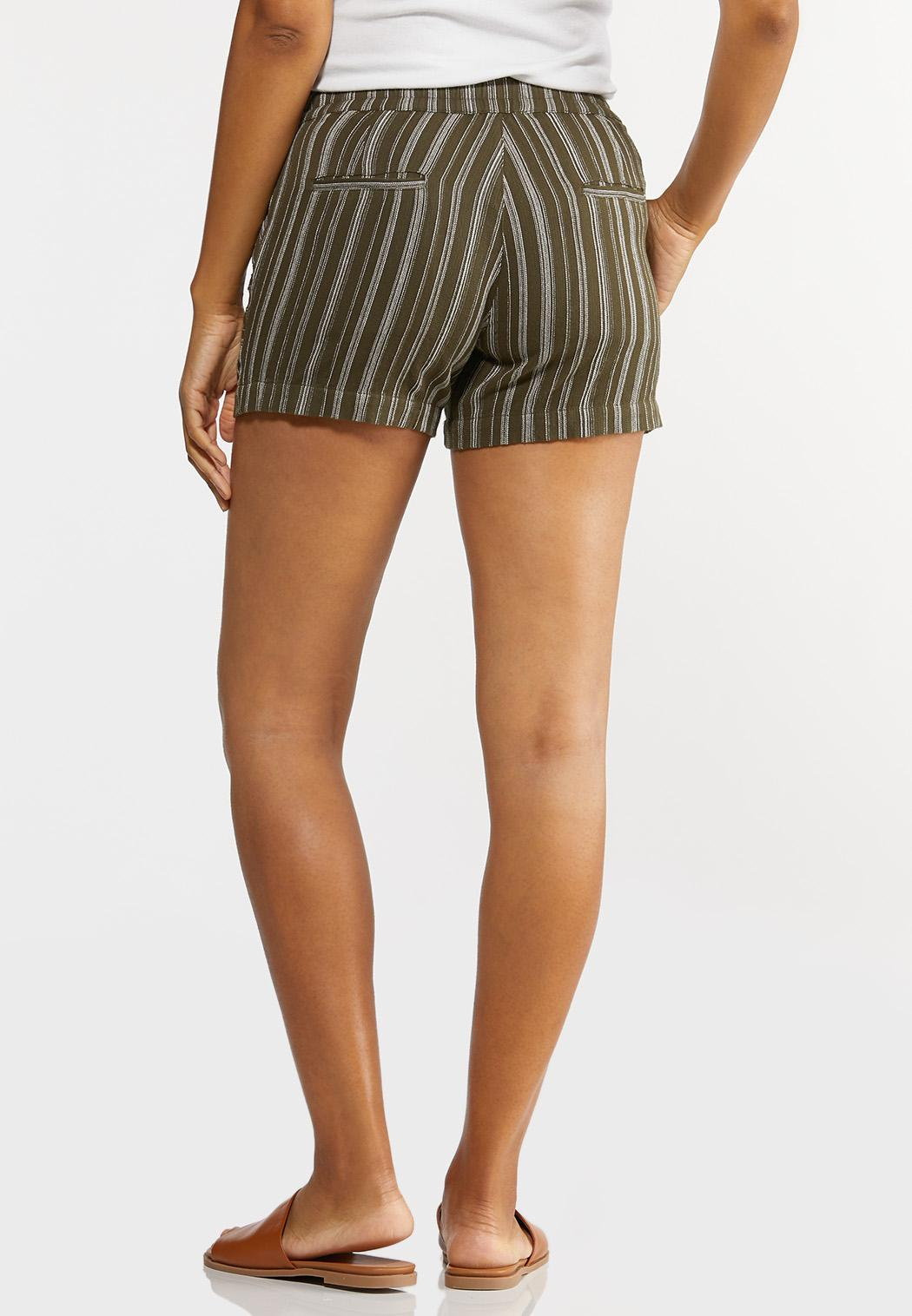 Olive Stripe Linen Shorts (Item #44281636)