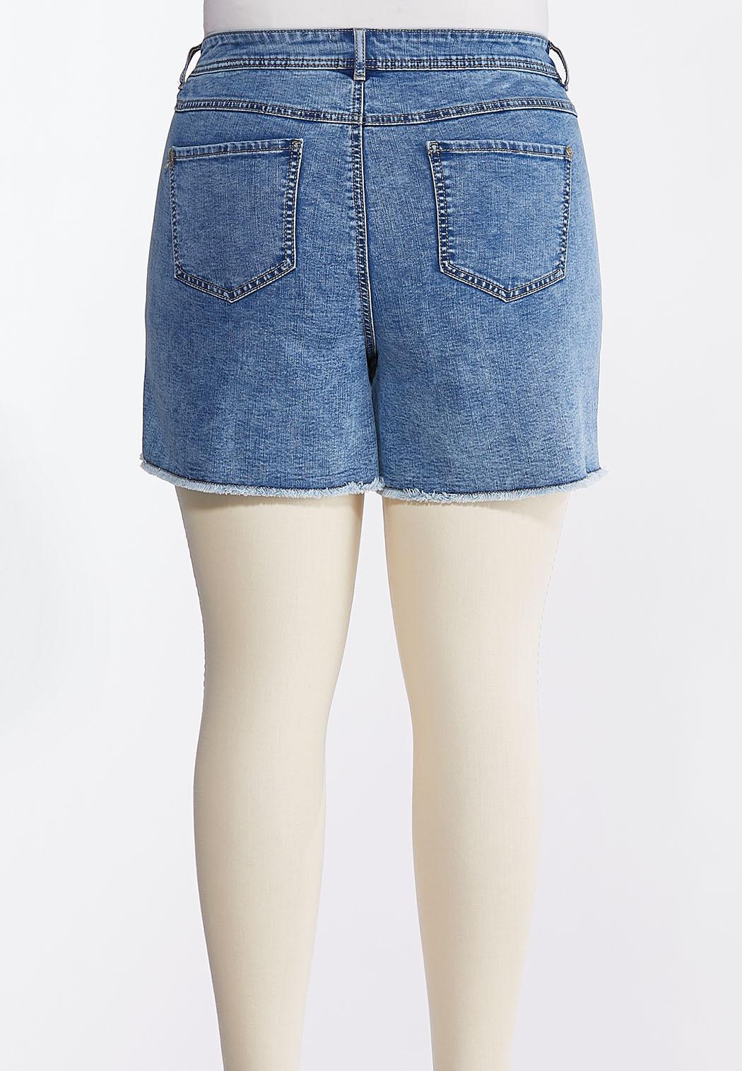 Plus Size Acid Wash Denim Shorts (Item #44282255)