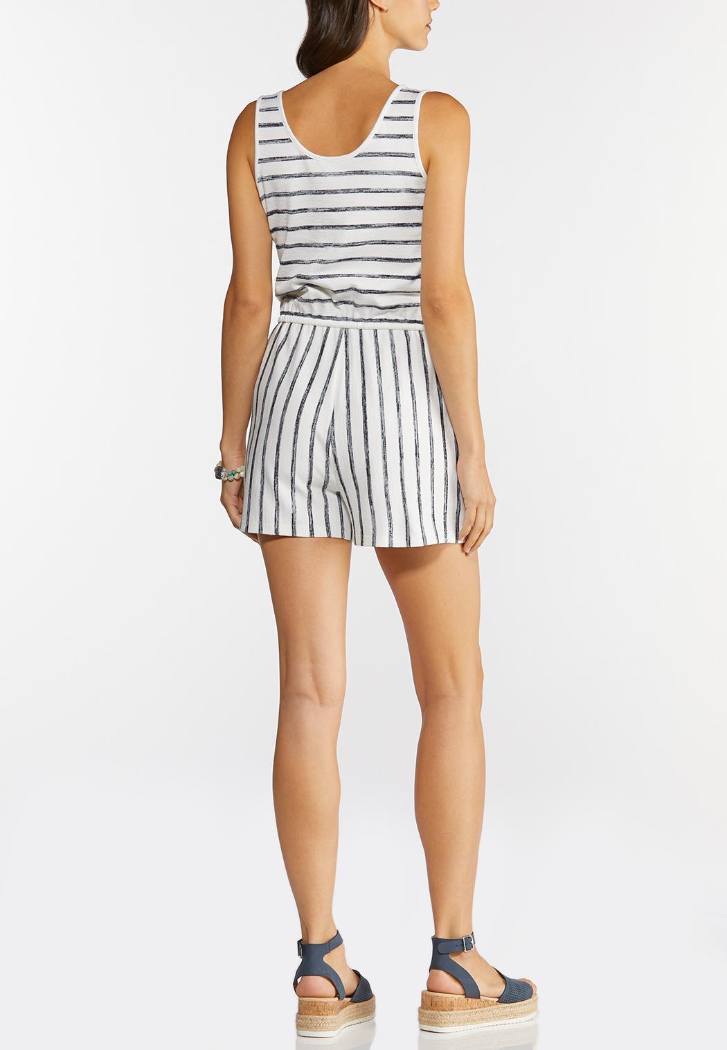 Plus Size Faded Stripe Romper (Item #44282279)