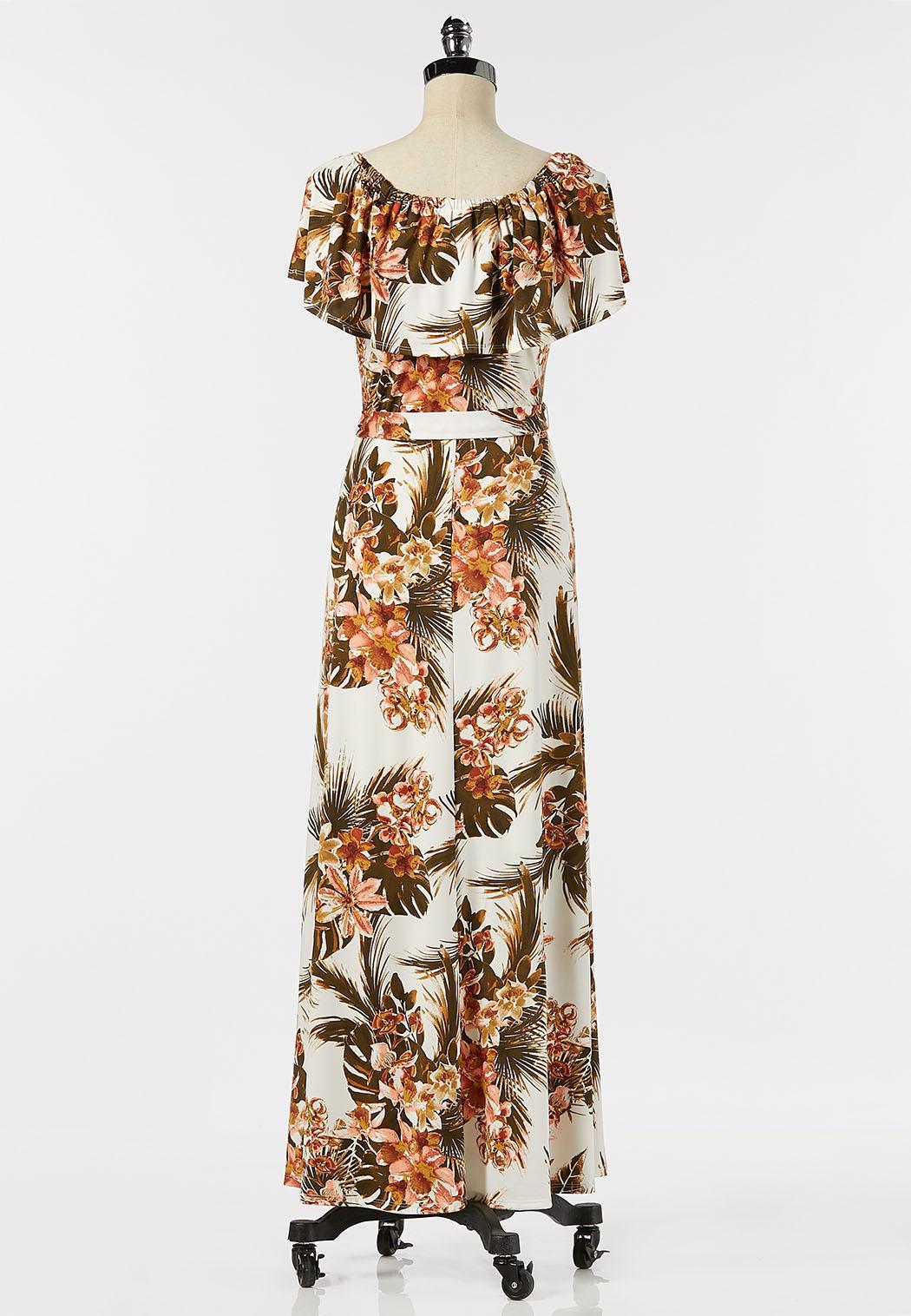 Petite Tropical Tie Waist Maxi Dress (Item #44282679)