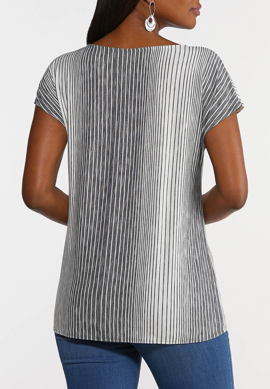 Plus Size Striped Tie Hem Top (Item #44283698)