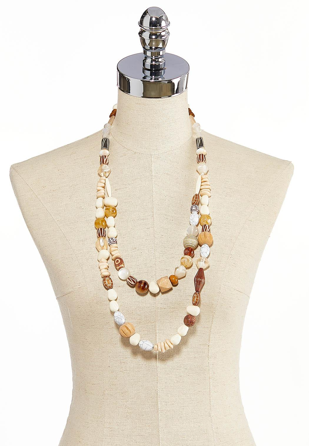 Layered Wood Bead Necklace (Item #44283726)