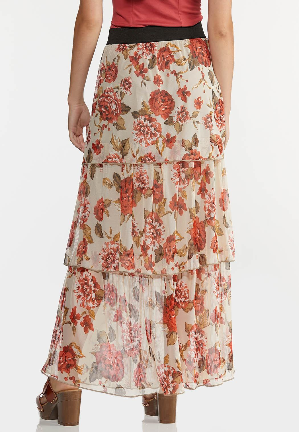 Plus Size Floral Tiered Mesh Maxi Skirt (Item #44284439)