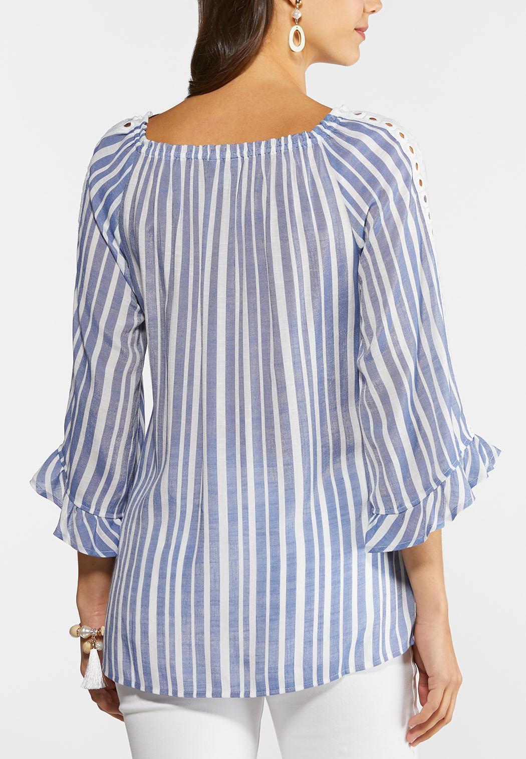 Plus Size Striped Lace Trim Poet Top (Item #44284789)