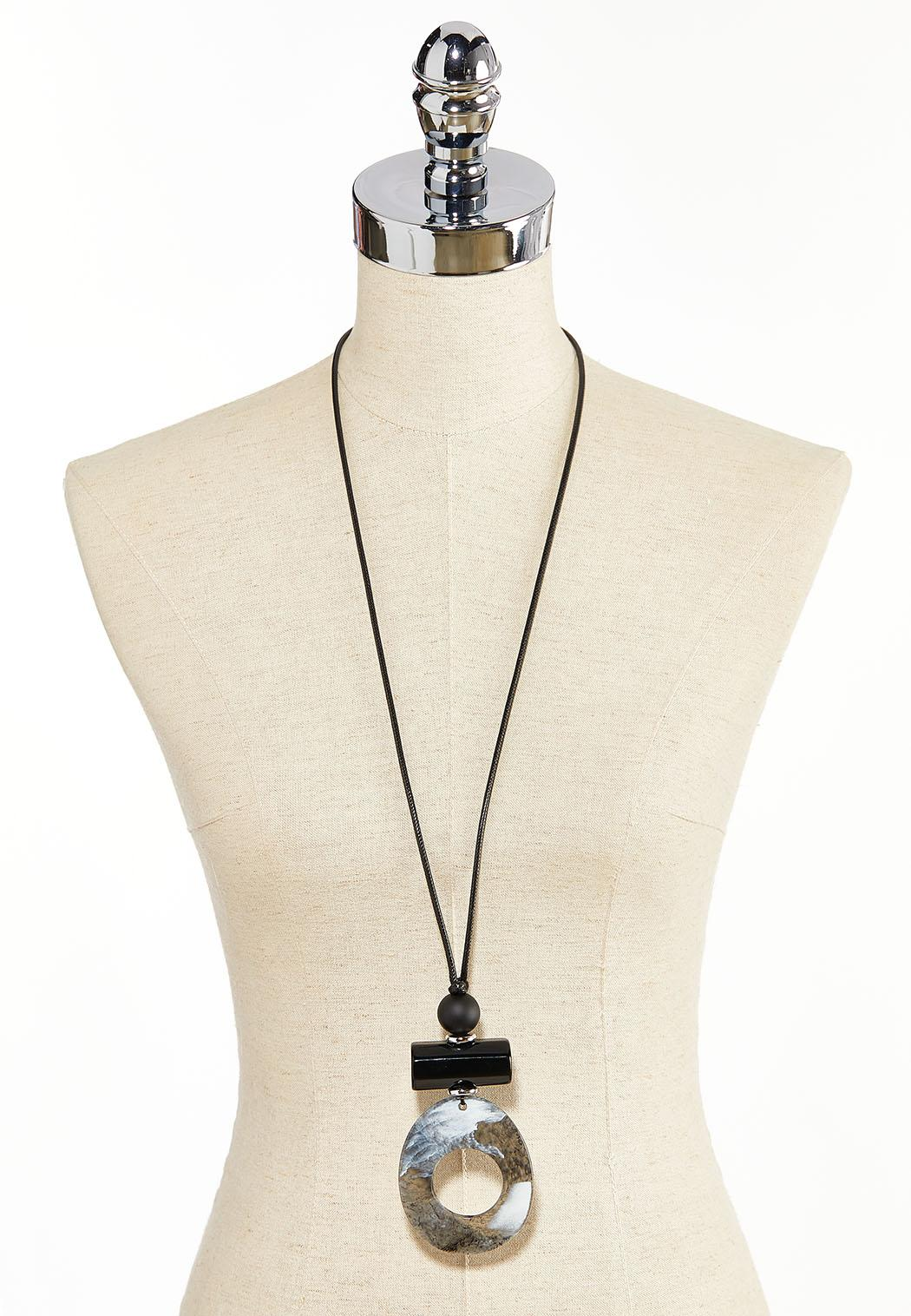Cord Resin Pendant Necklace (Item #44284854)