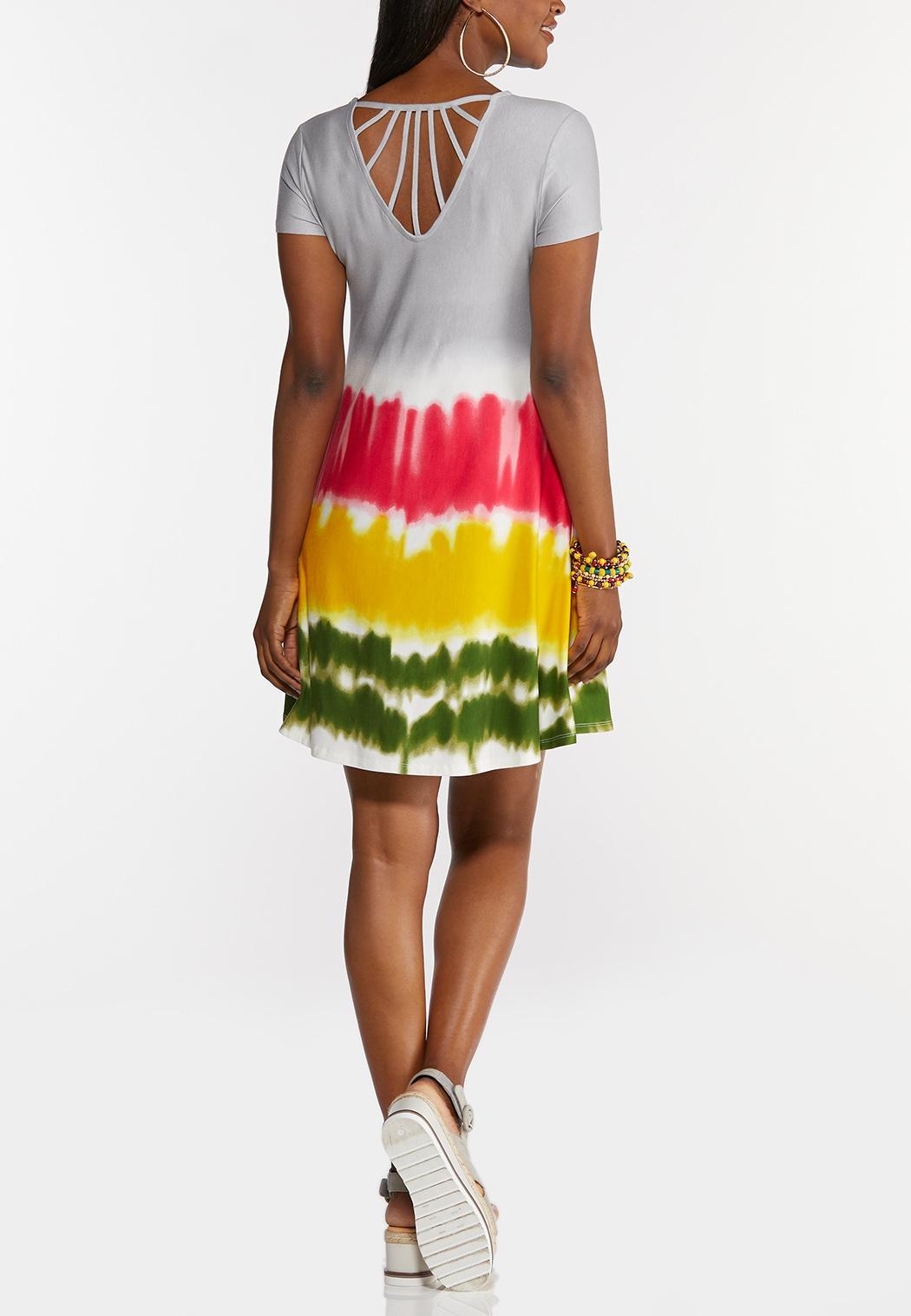 Plus Size Tie Dye Strappy Swing Dress (Item #44284885)