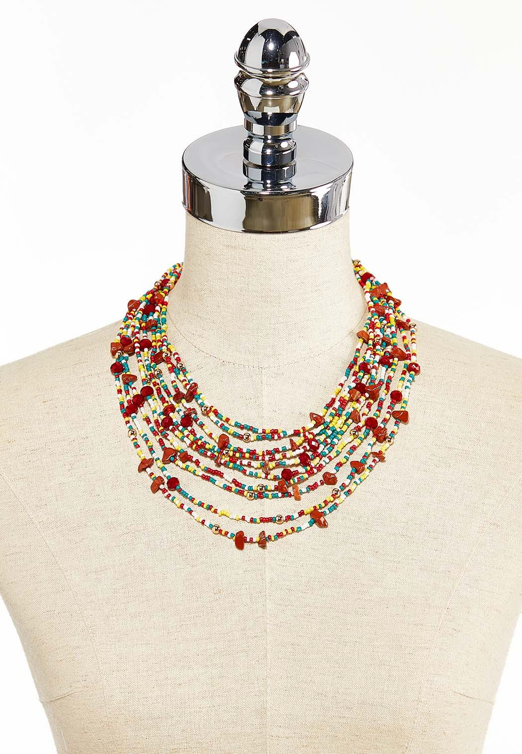 Layered Multi Seed Bead Necklace (Item #44285088)
