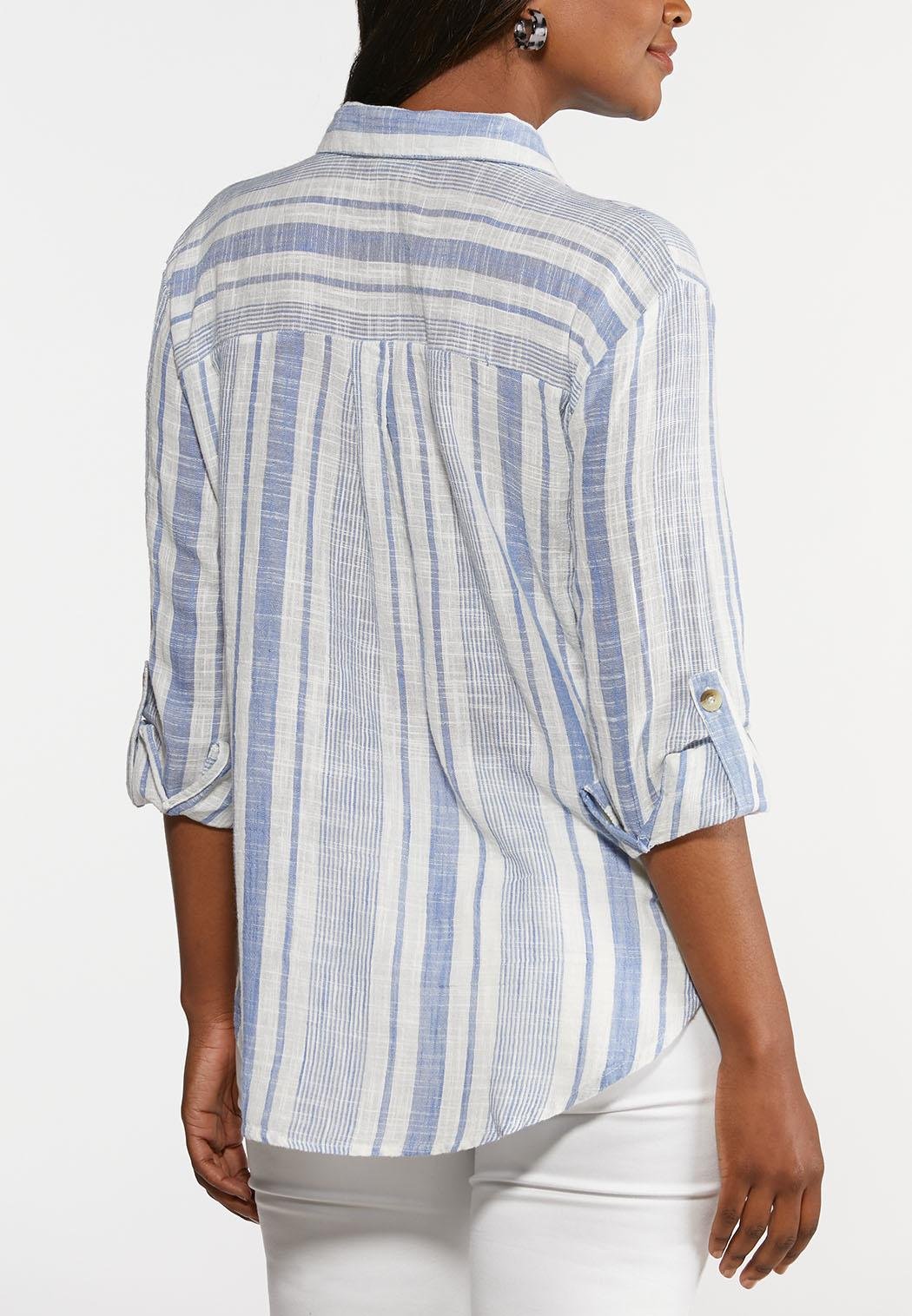 Plus Size Muted Stripe Shirt (Item #44285231)