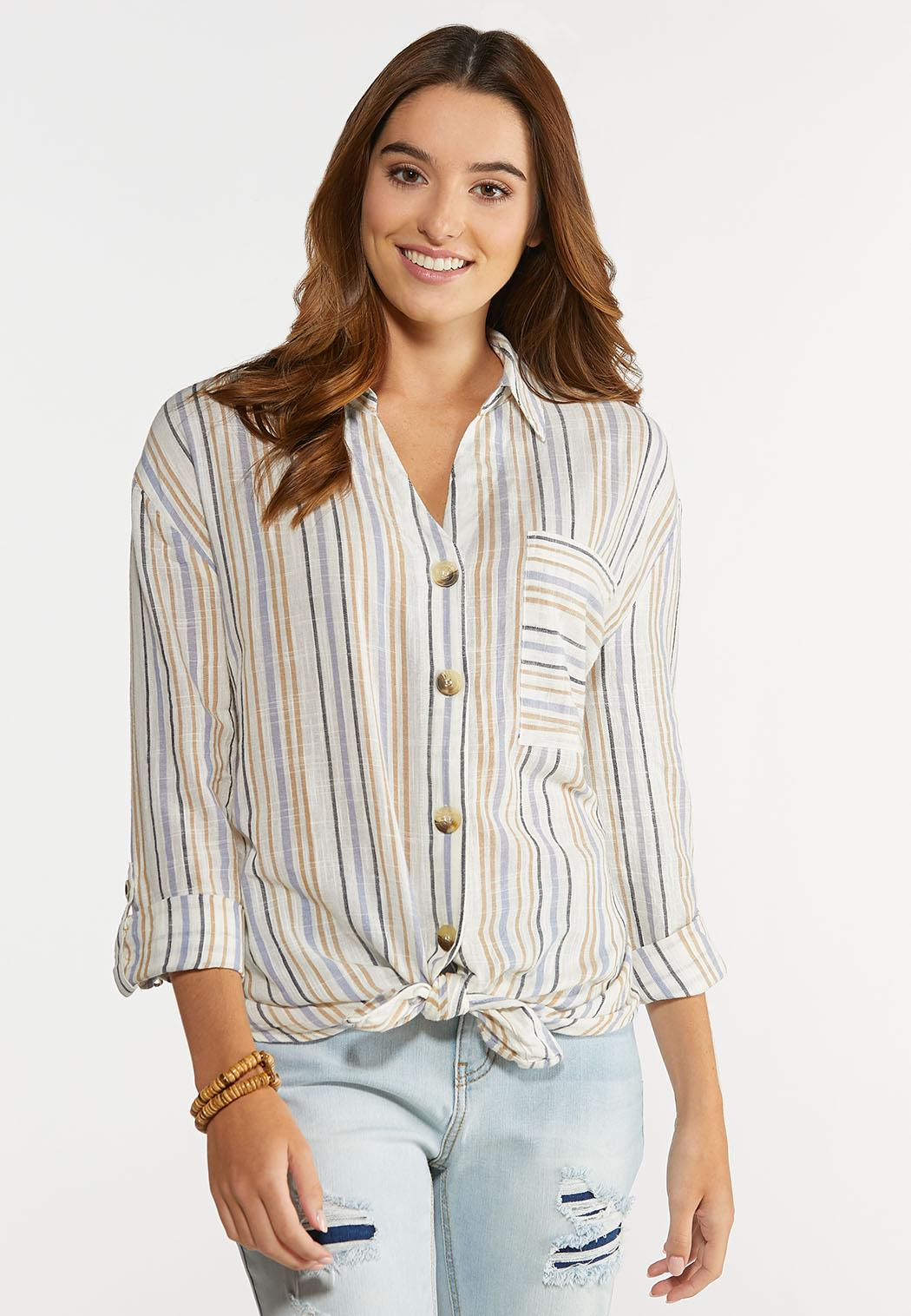Plus Size Stripe Linen Button Down Shirt (Item #44285253)