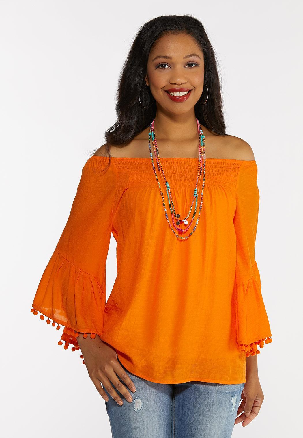 Plus Size Pom Pom Bell Sleeve Top (Item #44285548)