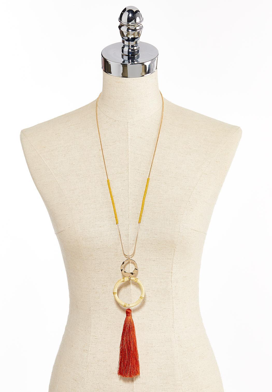 Bamboo Tassel Pendant Necklace (Item #44285624)