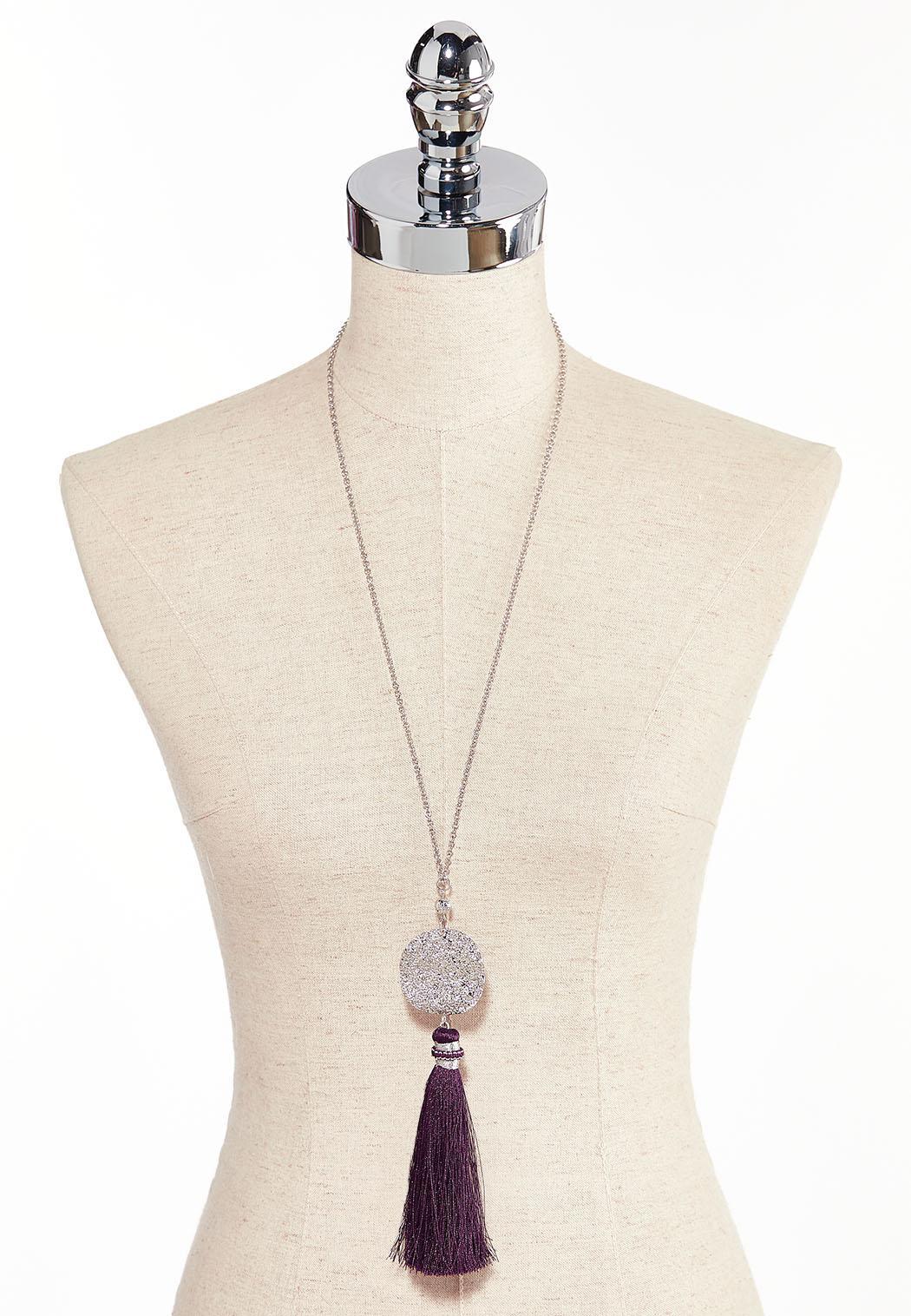 Hammered Disc Tassel Necklace (Item #44285632)