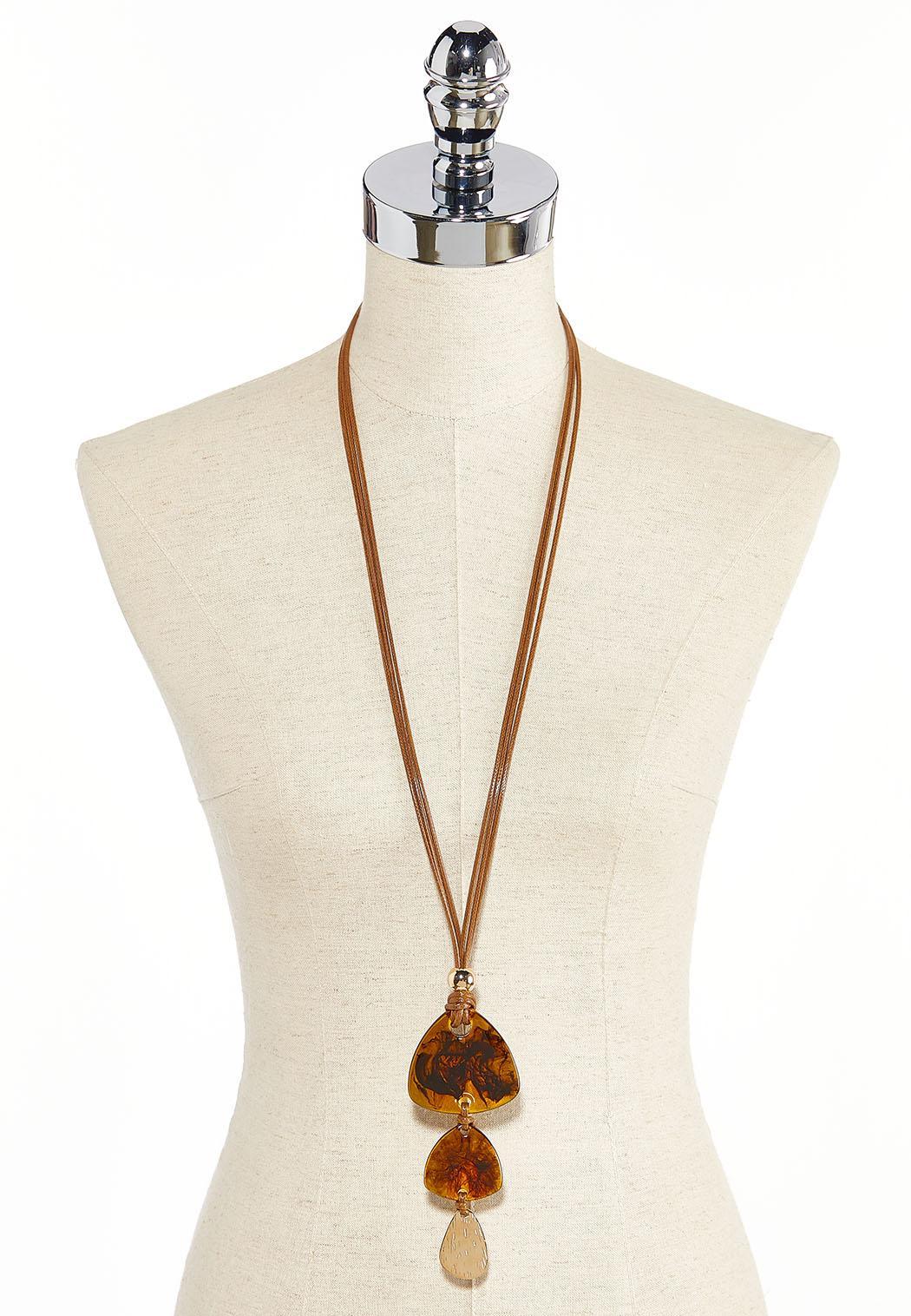 Smoky Resin Pendant Cord Necklace (Item #44285637)