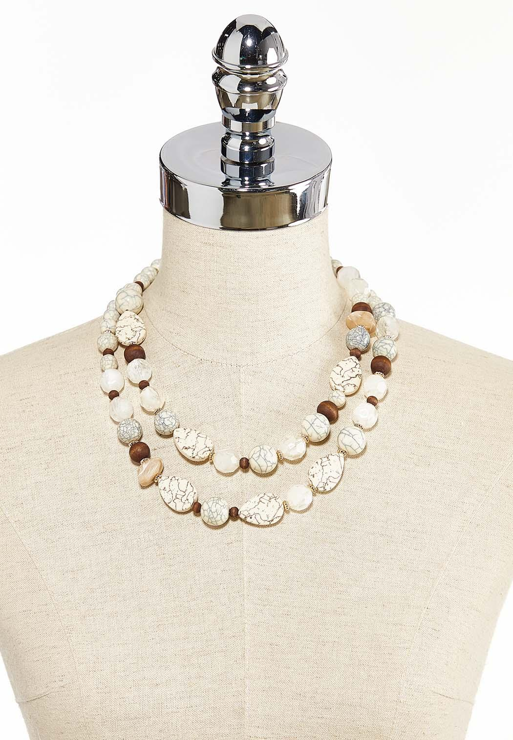 Layered Tribal Mixed Bead Necklace (Item #44285642)
