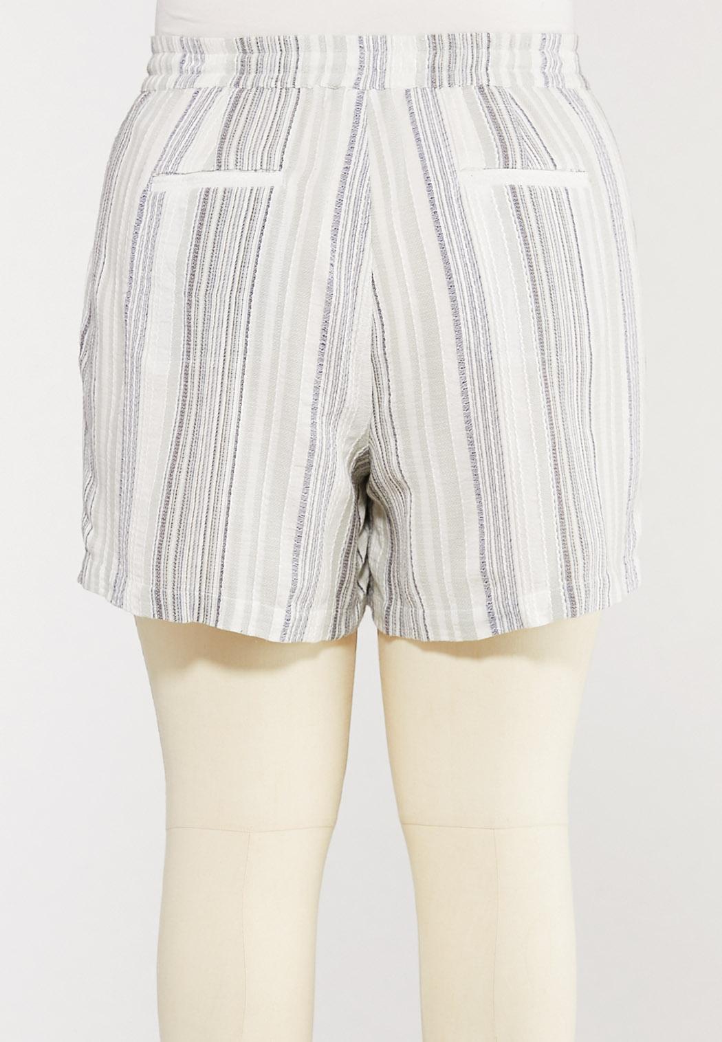 Plus Size Textured Linen Shorts (Item #44286520)