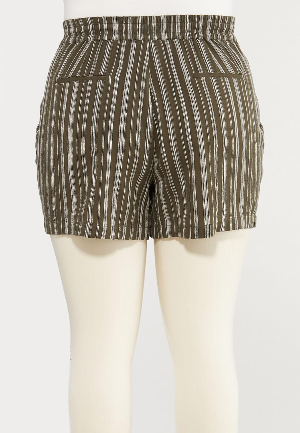 Plus Size Olive Stripe Linen Shorts (Item #44286527)