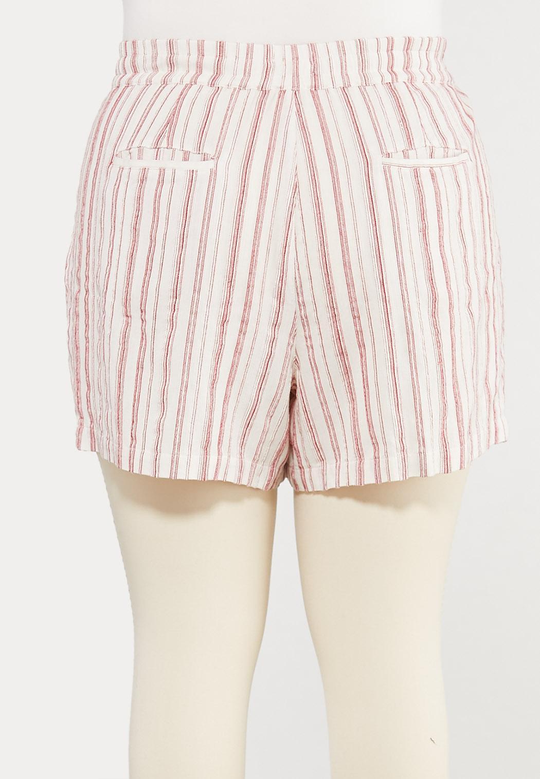 Plus Size Striped Linen Shorts (Item #44286565)