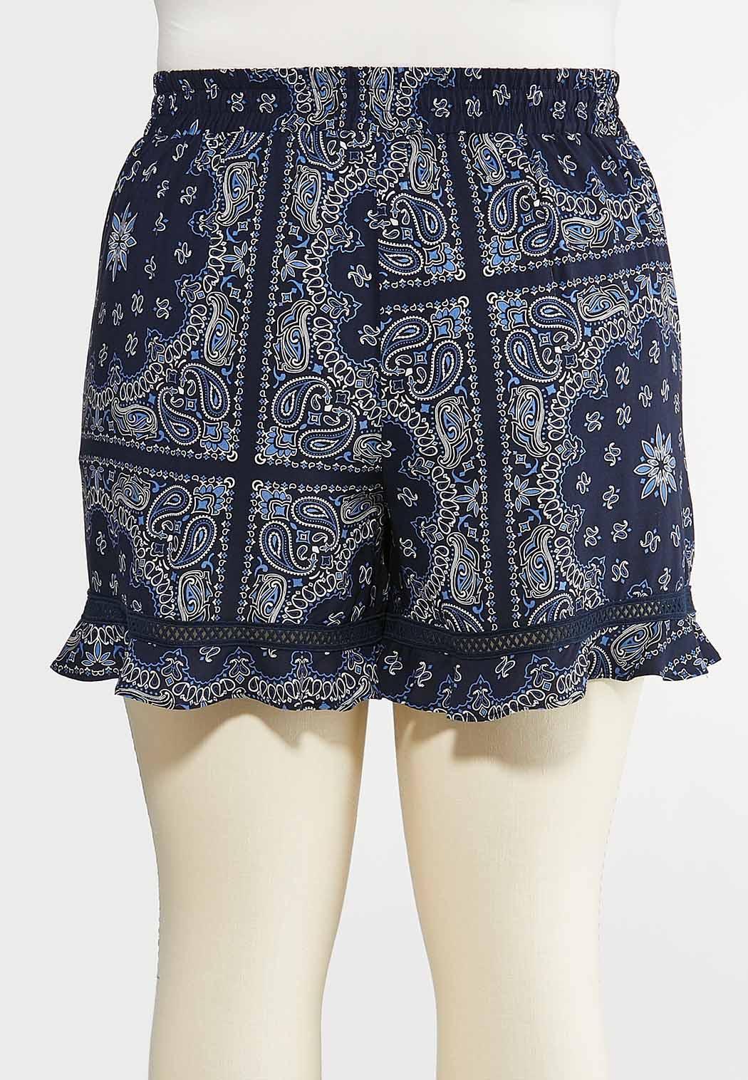 Plus Size Bandana Print Shorts (Item #44286581)
