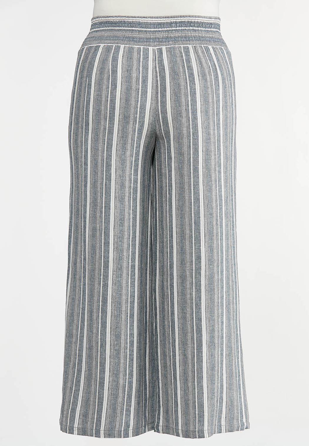 Plus Size Vintage Stripe Linen Pants (Item #44287536)