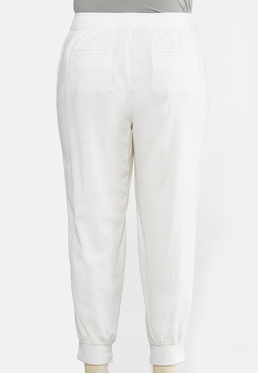 Plus Size Solid Linen Joggers  (Item #44287639)