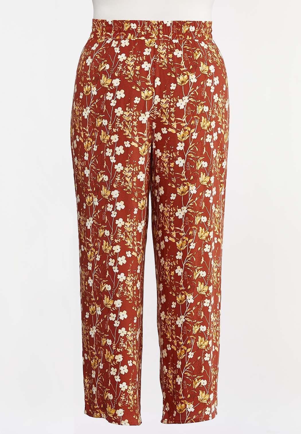 Plus Size Orange Floral Palazzo Pants (Item #44287713)